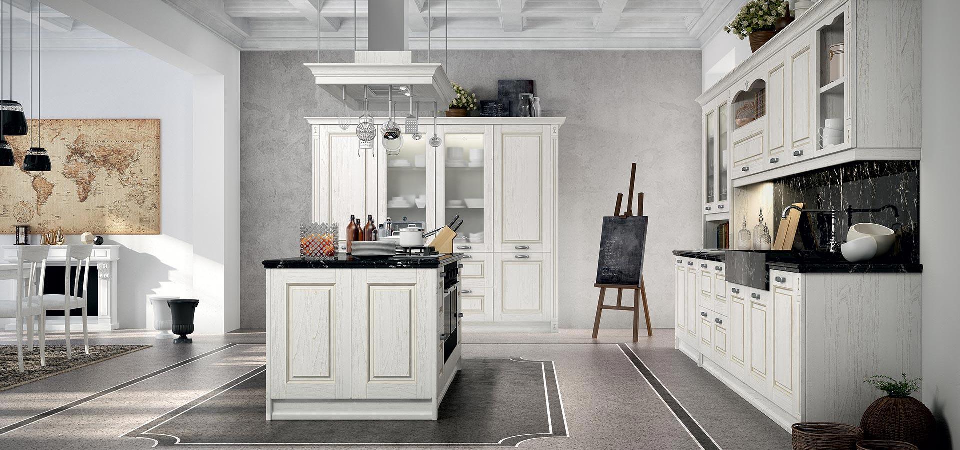 Объеденение кухни и гостиной в классическом исполнении