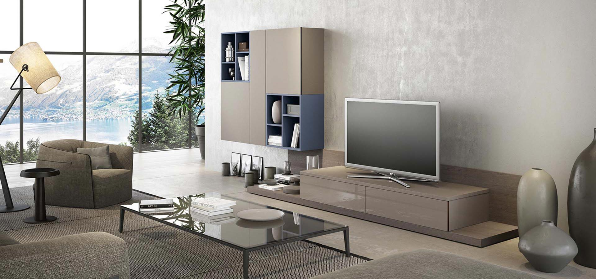 Glass 2 living room tv stand arredo3 for Sala de estar beige